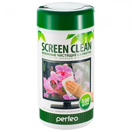 "Perfeo чистящие салфетки ""Screen Clean"", для LCD/TFT экранов и мониторов, в тубе, 100шт."